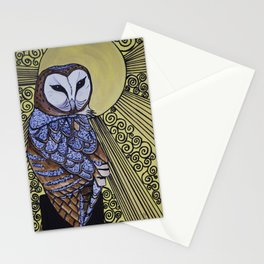 Barn Owl Art Nouveau Panel in yellow Stationery Cards