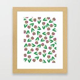 patron de tulipanes coloridos Framed Art Print