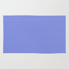 Cobalt Blue and White Horizontal Thin Pinstripe Pattern Rug