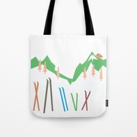skiing Tote Bags featuring Backcountry Skiing by LoveLoveMeDoDesigns