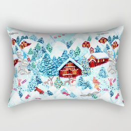 Alpine Chalets with reindeer, owls and snow (watercolor) Rectangular Pillow