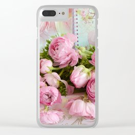 Shabby Chic Cottage Pink Floral Ranunculus Peonies Roses Print Home Decor Clear iPhone Case