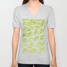 Watercolor green and yellow leaves pattern Unisex V-Neck