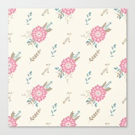 Pink big flower and floral composition seamless pattern Canvas Print
