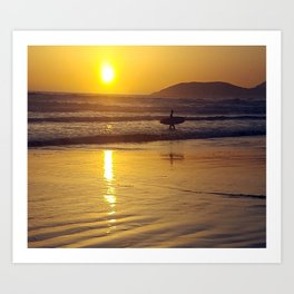 Pismo Beach Surfer in the Sunset Art Print