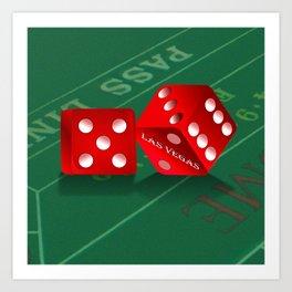 Craps Table & Red Las Vegas Dice Art Print