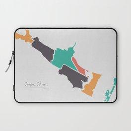 Corpus Christi Texas Map with neighborhoods and modern round shapes Laptop Sleeve
