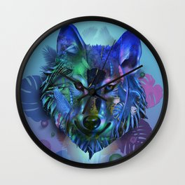 wolf tropical art decor Wall Clock