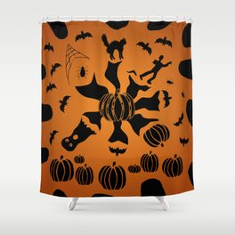Zombie Black Cat Bat Spider Ghost Pumpkin Shower Curtain