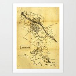 Map of the Civil War Seven Days' Battles (June 25 - July 1, 1862) Art Print