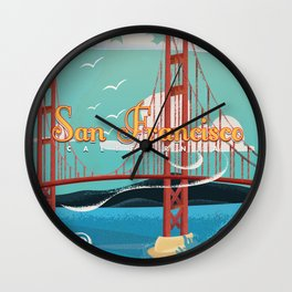 Vintage San Francisco Travel poster Wall Clock