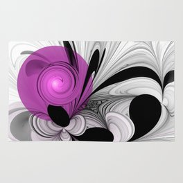 Abstract Black And White With Orchid Rug