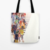 Tote Bags featuring Zebra crossing by takmaj