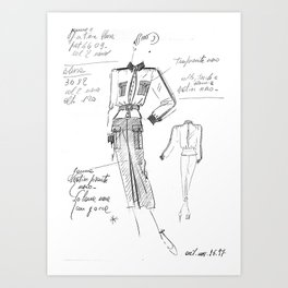 90ies sketch haute couture Art Print