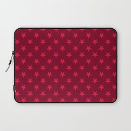 Crimson Red on Burgundy Red Stars Laptop Sleeve