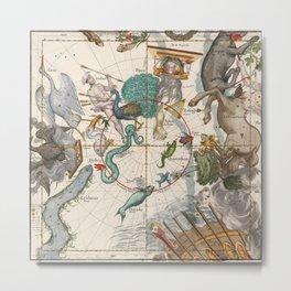 Old Constellation Map Year 1693 Metal Print
