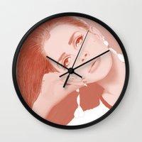 ultraviolence Wall Clocks featuring LANA by Itxaso Beistegui Illustrations