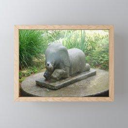 Misting Elephant Statue Framed Mini Art Print