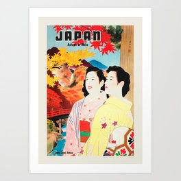 Japan retro travel poster - Autumn In Nikko with Country View River Hills Art Print