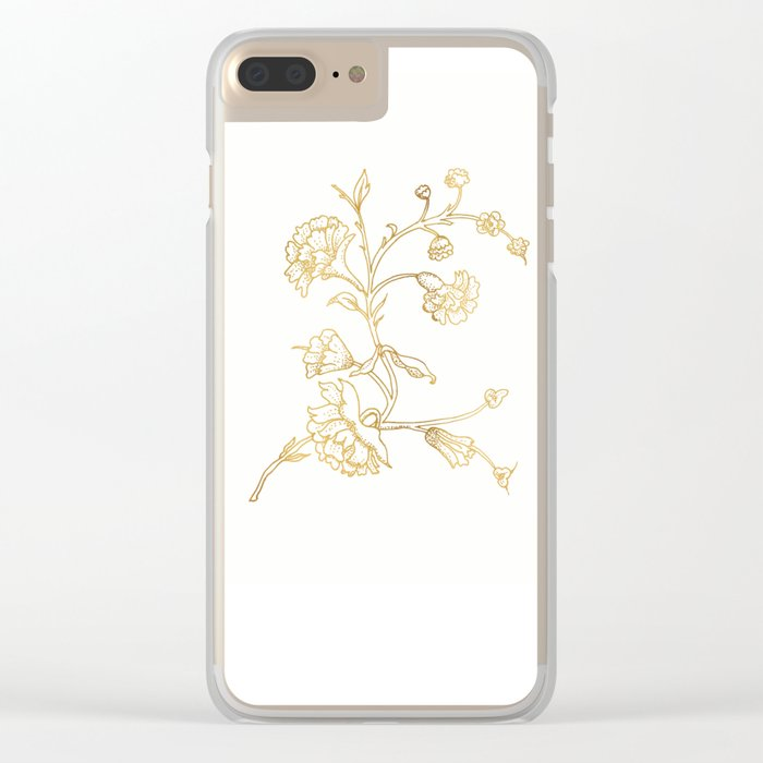 Golden flower on white background . artwork . Clear iPhone Case