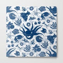 Cephalopods: Grunge Metal Print