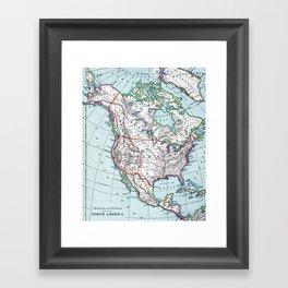 Colorful Vintage North America Map Framed Art Print