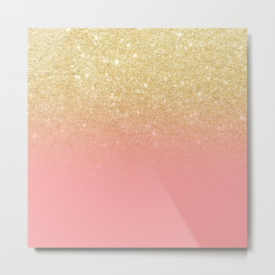 Modern gold ombre pink color block Metal Print