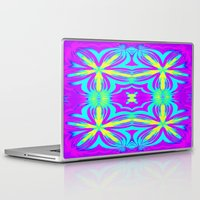 psychedelic Laptop & iPad Skins featuring psychedelic Floral Fuchsia Aqua by 2sweet4words Designs