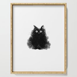 Duster - Black Cat Drawing Serving Tray