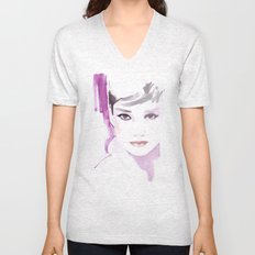 Fashion illustration in watercolors and ink Unisex V-Neck