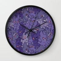 gengar Wall Clocks featuring Gengar invasion! by inki