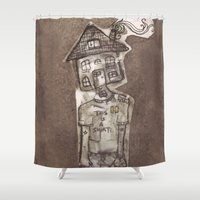 cartoons Shower Curtains featuring Saturday Morning Cartoons 1: Homebody by Kayleigh Morin