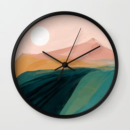 pink, green, gold moon watercolor mountains Wall Clock