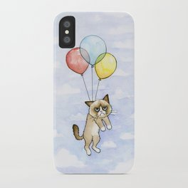 Cat With Balloons Grumpy Birthday Meme iPhone Case