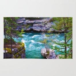 Hiking along the Maligne River in Jasper National Park, Canada Rug