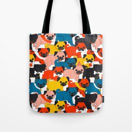 COLORED PUGS PATTERN no2 Tote Bag
