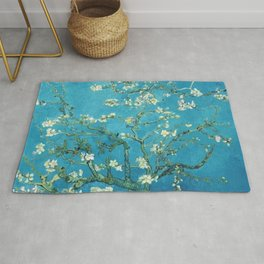 Vincent van Gogh Blossoming Almond Tree (Almond Blossoms) Light Blue Rug