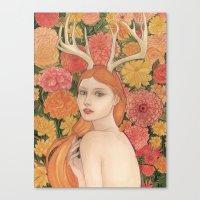 dahlia Canvas Prints featuring Dahlia by Marcela Badolatto