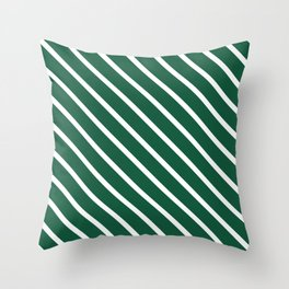 Teal The World (Green) Diagonal Stripes Throw Pillow