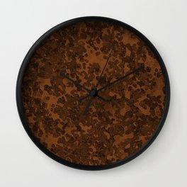 Chocolate Brown Hybrid Camo Pattern Wall Clock