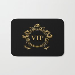 VIP In Black and Goldtone Bath Mat