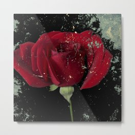 Grunge red rose Metal Print