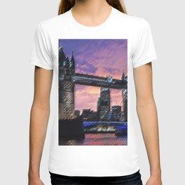 Tower Bridge, London at Sunset Landscape Painting by Jeanpaul Ferro T-shirt