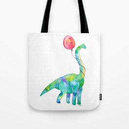 brachiosaurus with red balloon Tote Bag