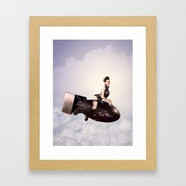 """Up and Atom"" - The Playful Pinup - Military Bomb Pin-up Girl by Maxwell H. Johnson Framed Art Print"