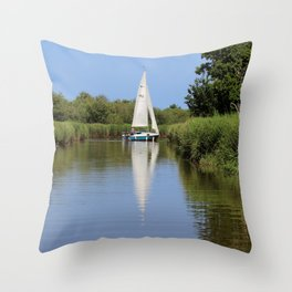 Sailing on the Norfolk Broads Throw Pillow