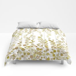 golden string of pearls watercolor Comforters