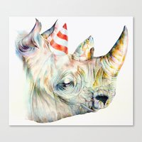 party Canvas Prints featuring Rhino's Party by Brandon Keehner