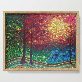 Winter sunset dot art by Mandalaole Serving Tray