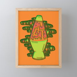 Lit lava lamp in orange in 3D Framed Mini Art Print